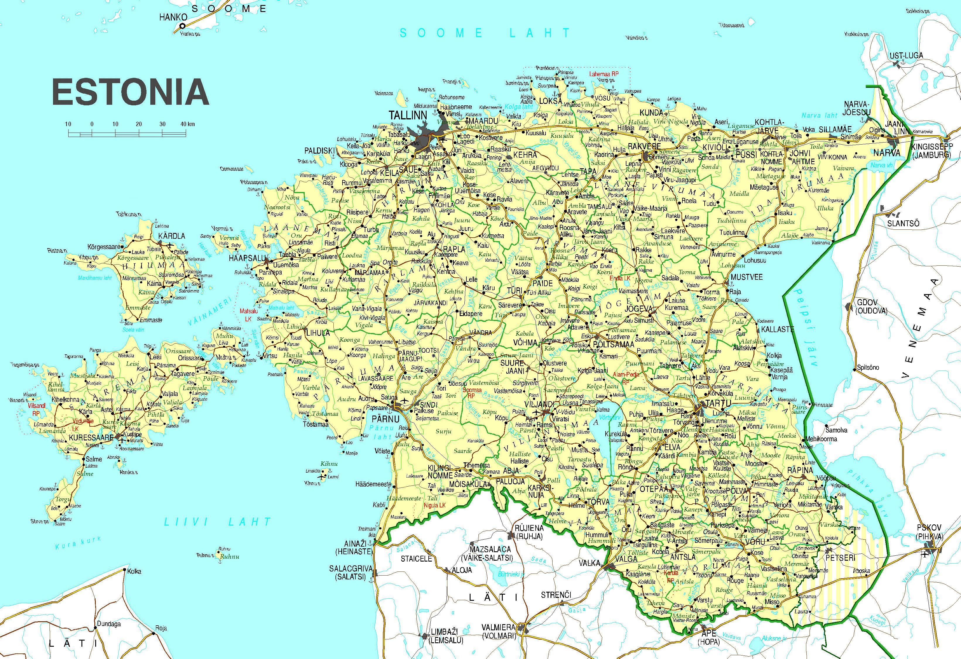 Estonia Harta Rutiera Harta Estonia Drum Europa De Nord Europa